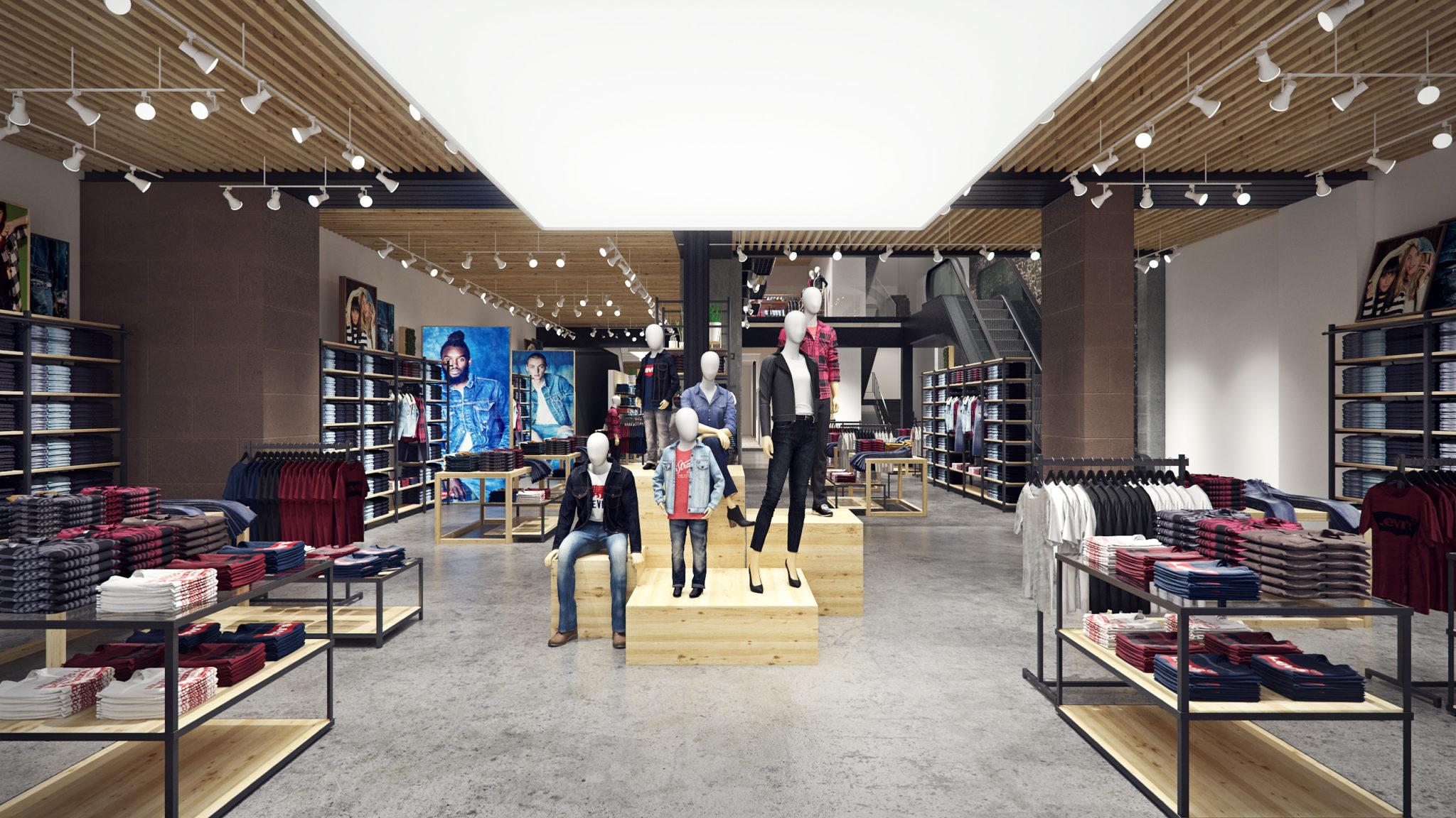 levi's mexico, flagship store, store interior, render, 3d, pixelpool
