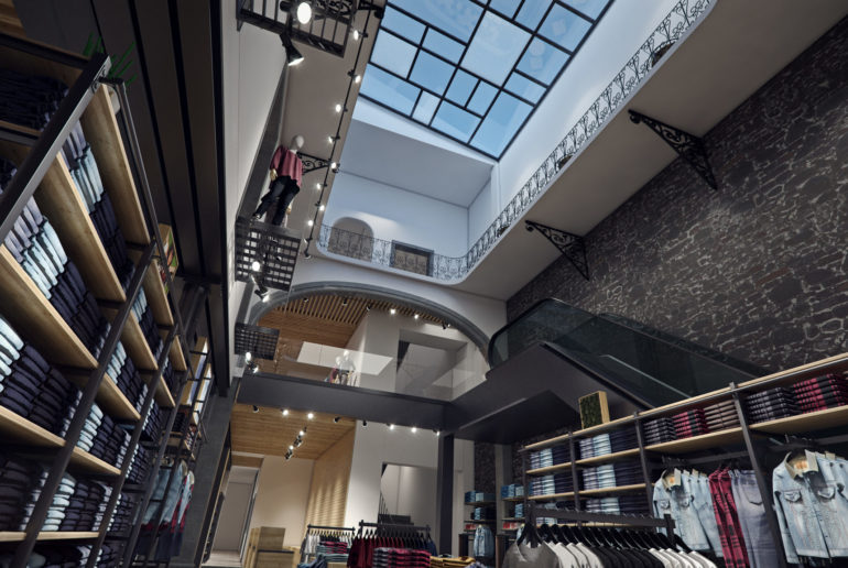 levi's mexico, flagship store, madero, interior, render, 3d, pixelpool