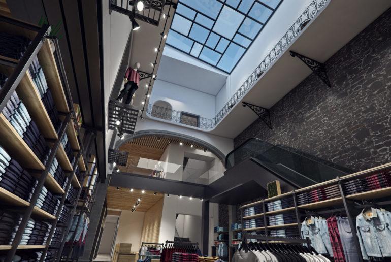 levi's mexico, flagship store, madero, interior, render, 3d, pixelpool