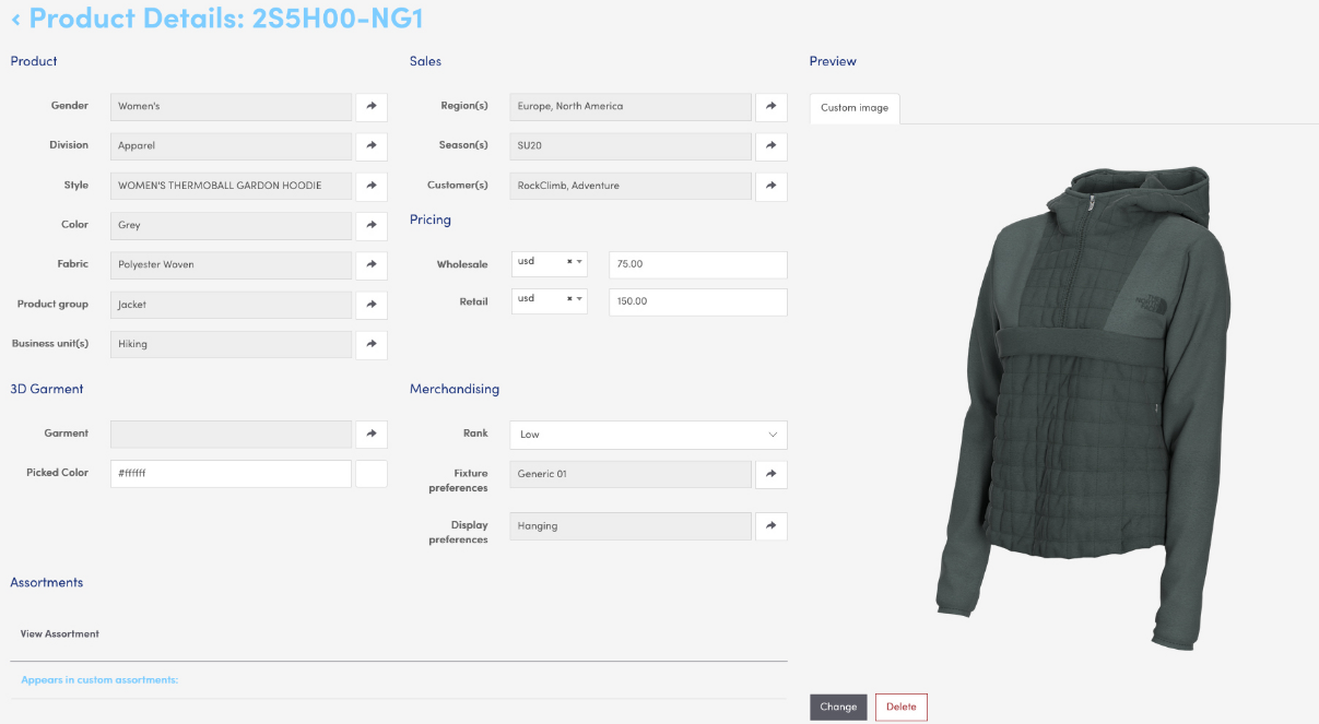 Dtail product page interface, 3D clothing library, dtail, pixelpool