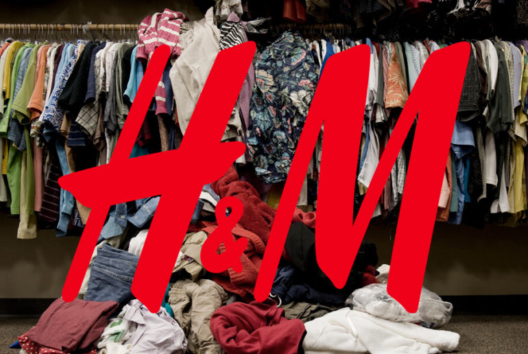 pile of clothing, h&m logo