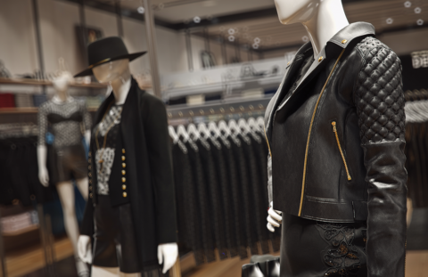 Black leather jacket, 3D, Express, PixelPool, fashion visualization