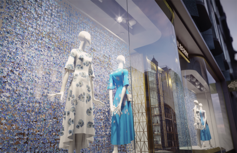 pixelpool, render, 3D, visualization, mulberry, store front, window, mannequins, apparel