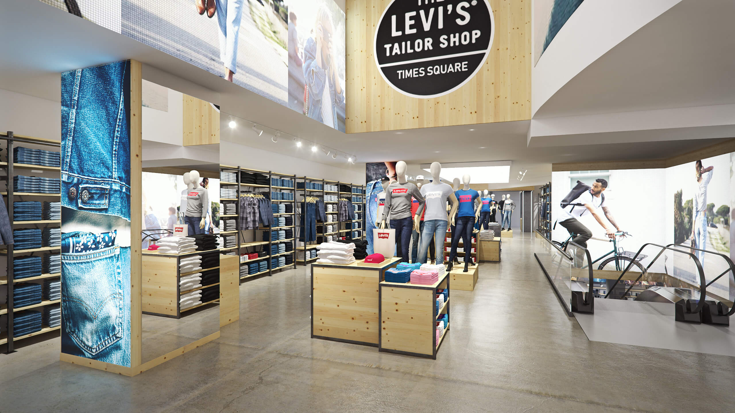 render vs real, Levi's, flagship, store, times square, new york city, interior, render, 3d, pixelpool, CAD