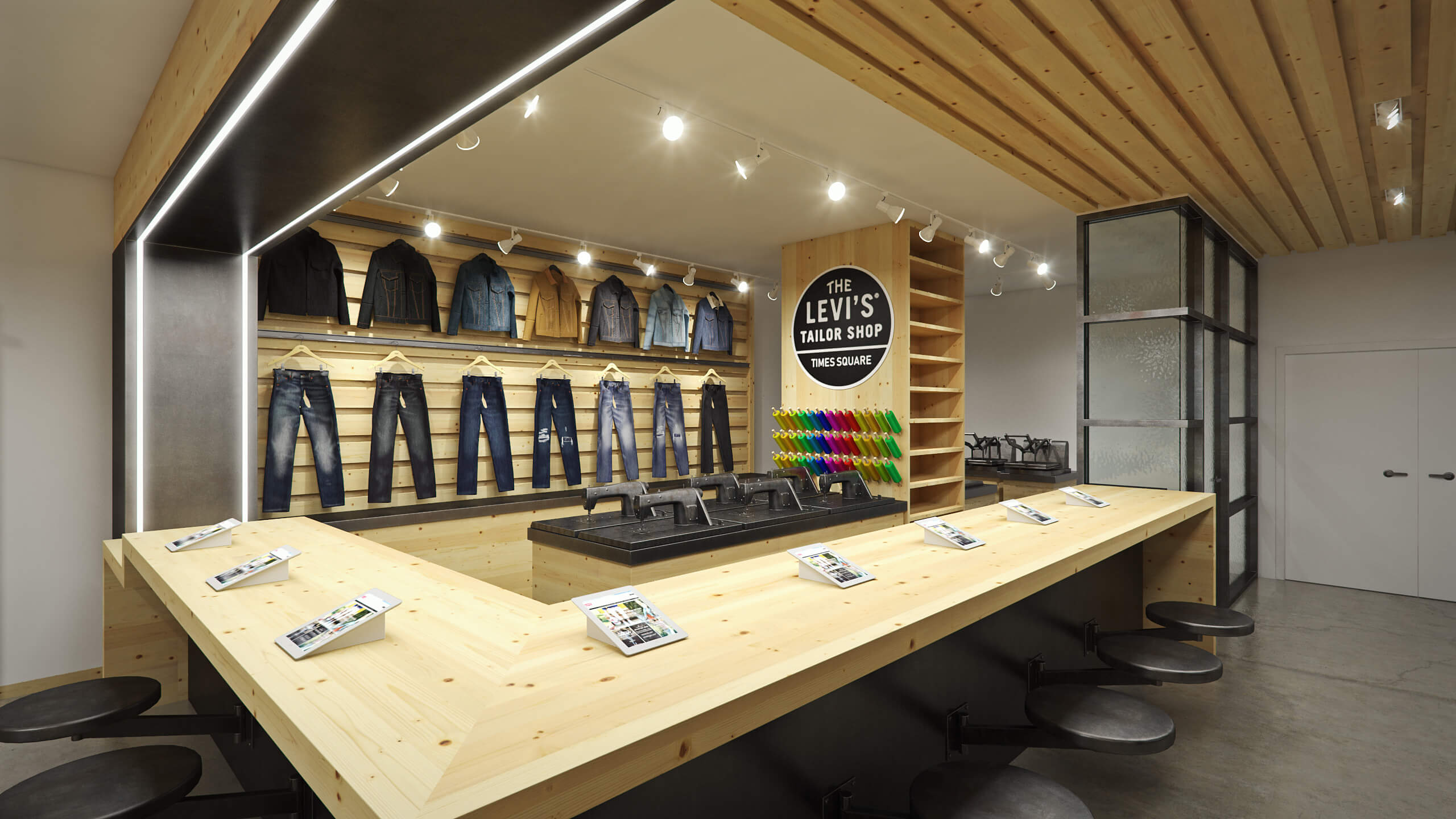 3D transformation, render vs real, Levi's, flagship, store, times square, new york city, interior, render, 3d, pixelpool, CAD