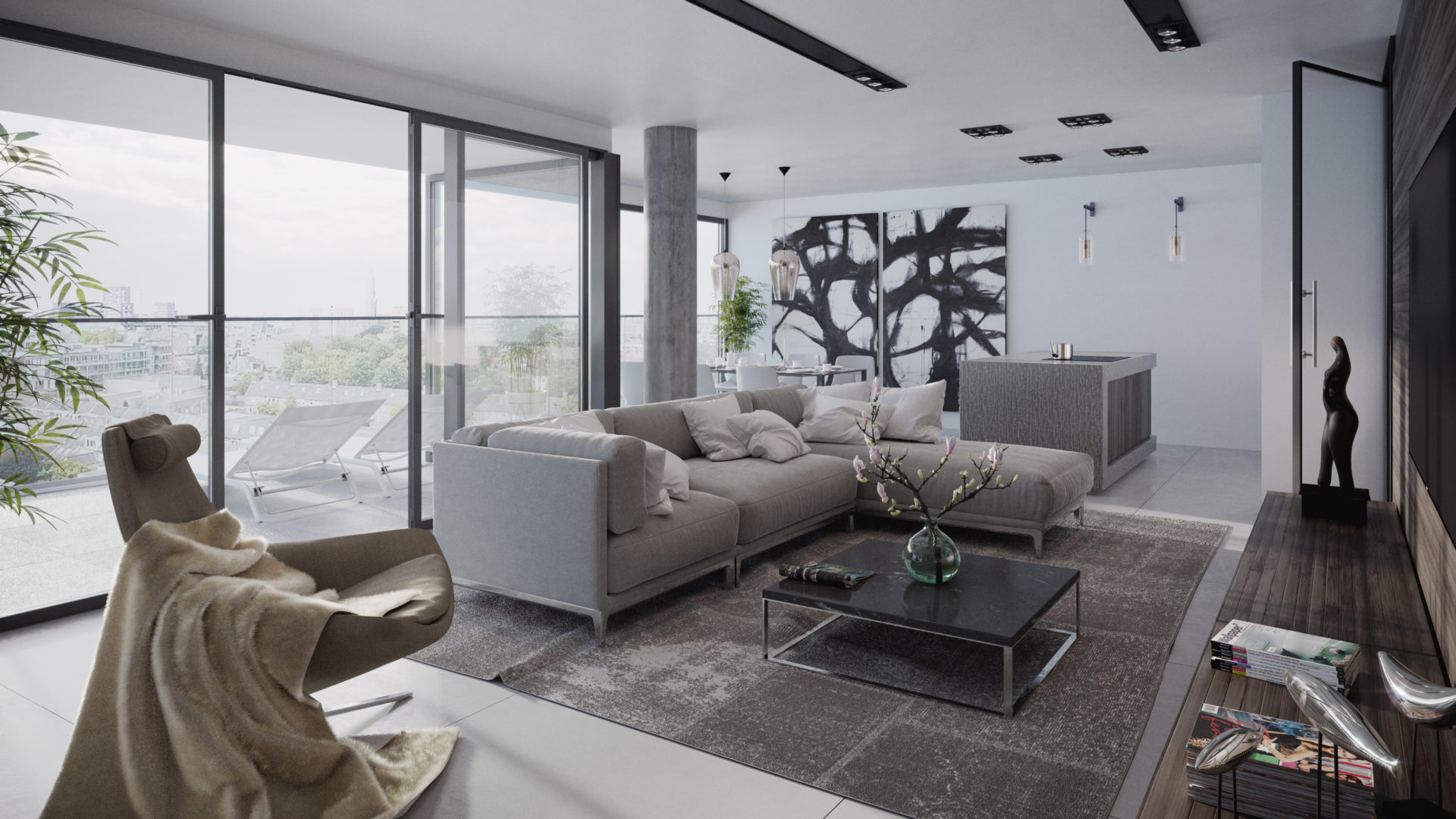 apartment interior, sofa, architectural visualization, 3d, render, pixelpool