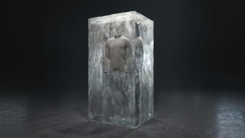 Render, pixelpool, visualization, 3D, block of ice, frozen clothing, heattech