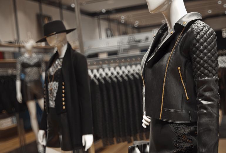 black leather jacket, mannequin render