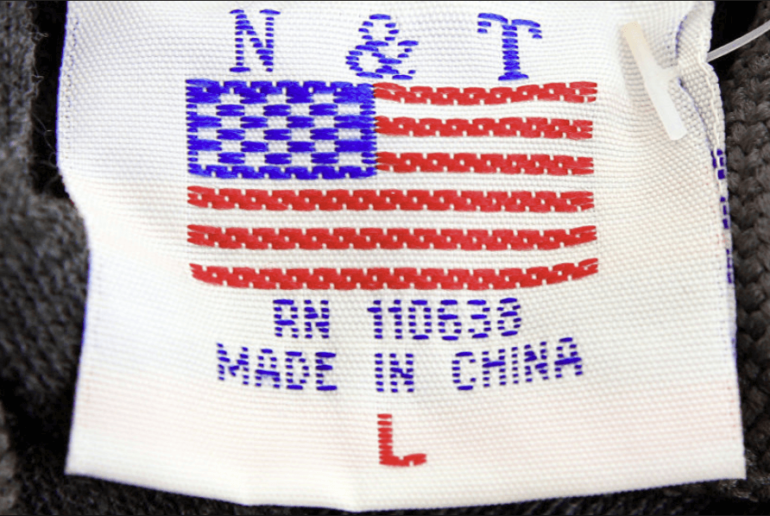 made in china, clothing tag, american flag, apparel, tariff, trump