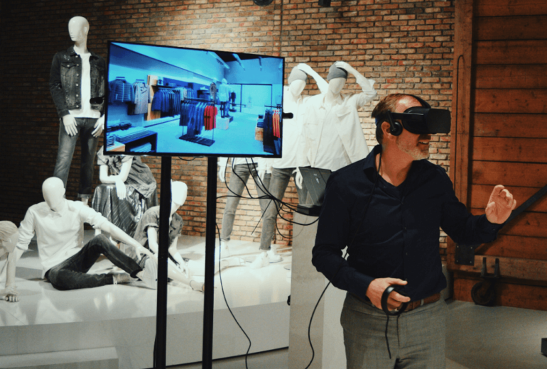 3D technology, man wearing virtual reality, physical to digital