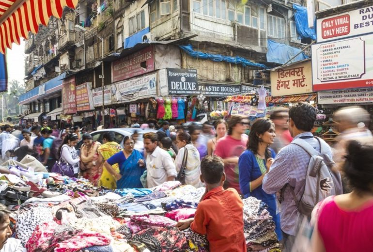 Indian market, Indian economy, busy market, lots of people, mumbai, delhi, india