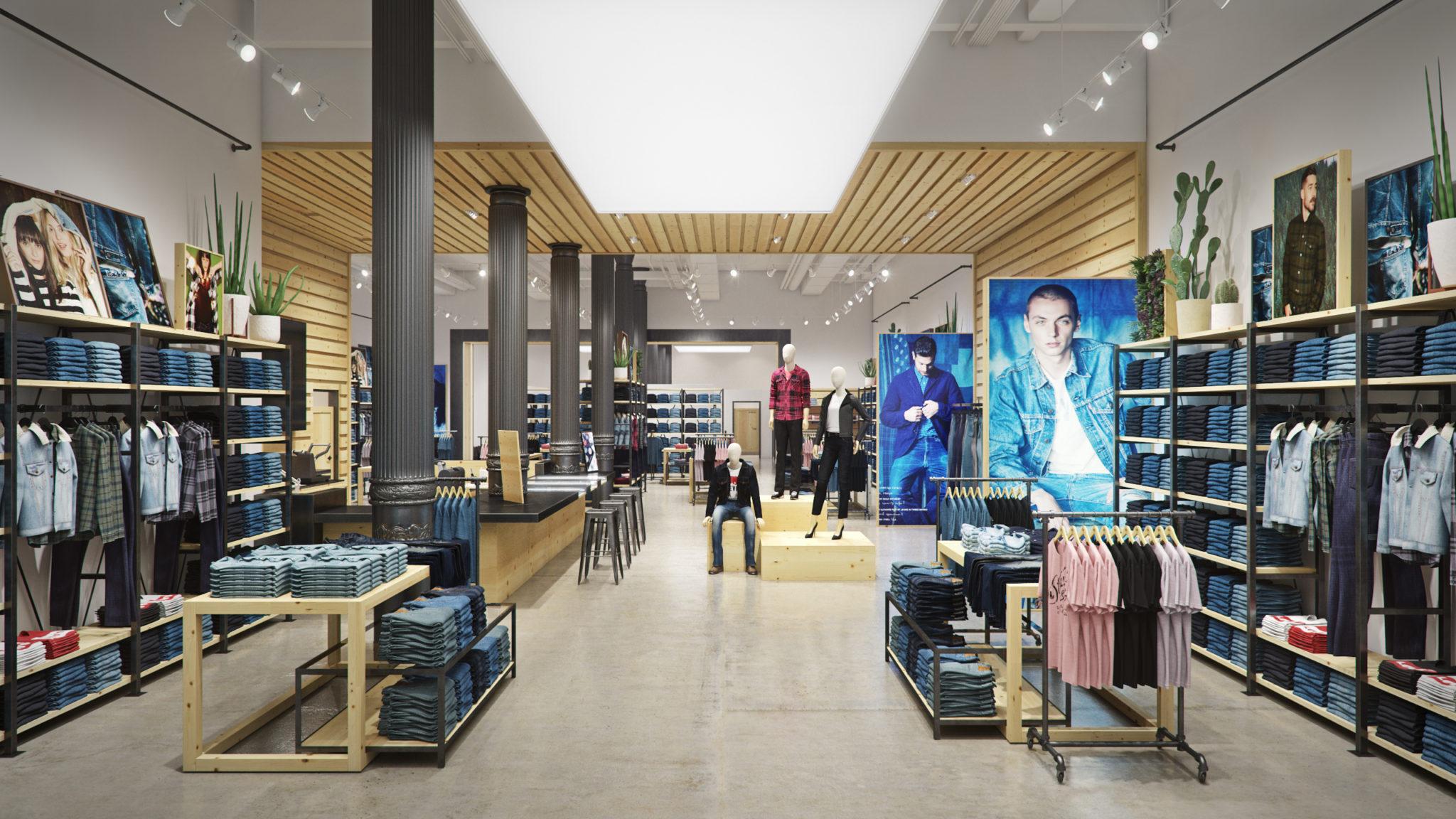Levi's soho flagship store, store interior, 3d render, pixelpool