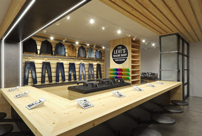 Levi's flagship store, new york, times square, render, store interior, retail, pixelpool