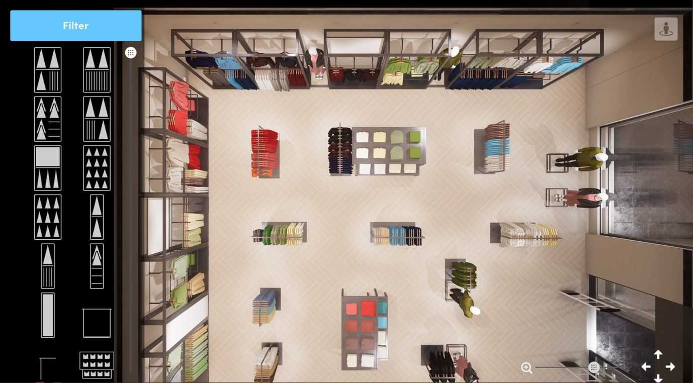 top view, virtual store environment, dtail, pixelpool, 3d